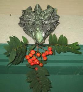 "photo of Dragon ""Green Man"" with Rowan Berries"