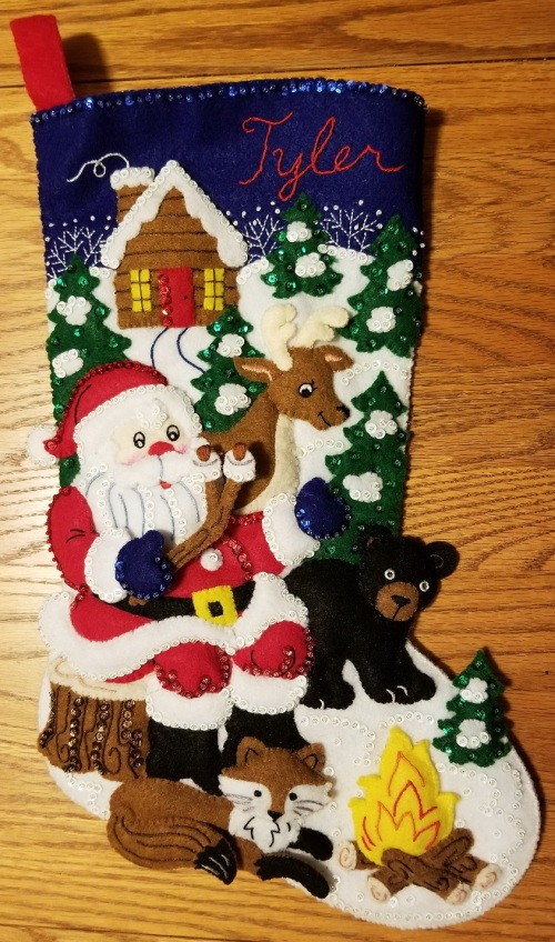 photo of completed Christmas stocking