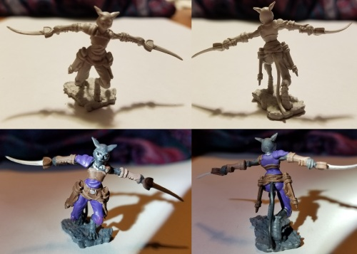 photo of tabaxi DnD miniature with daggers extended before and after painting