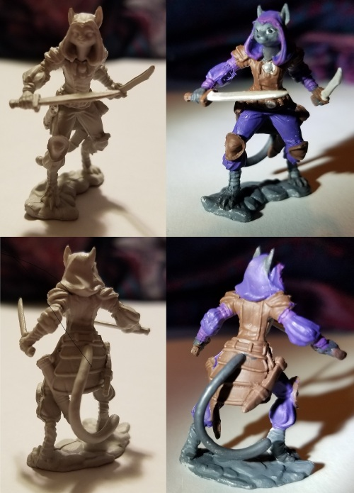 photo of tabaxi DnD miniature with hood before and after painting
